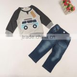 Brand Children Clothing Wholesale M5416 Boy Clothes Car Cowboy Suit Coat and Pant 2pcs sets