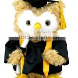 Singing Dancing Graduation Owl Plush Toy /Stuffed Musical Toy Owl Wearing Graduation Dress/Soft Owl of Graduation Gift