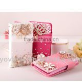 2014 New design pearl diamond card holder pu leather wallet case for iphone5