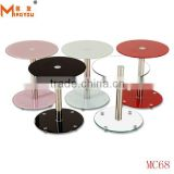 concise mordern style end table for home use two layers marble top round side table with glass