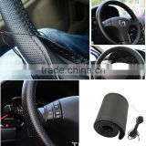 PU DIY wear resistant softer hand leather sewing steering wheel cover for car