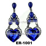 Fashion Europelong Chandelier crystal triangle India drop heart Earring ear stud Jewelry
