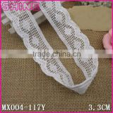 "Fashion Side Big Wave 1.35"" Cheap Creamy White Crochet Thread 100% Cotton Hood Trim"