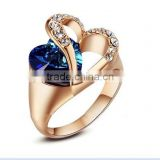 Fashion Design Heart Shape Big Blue CZ Stone Ring                                                                         Quality Choice
