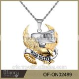 Stainless steel albanian eagle pendant necklace