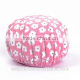Cute printing pink flower protective shower cap with toweling bathing cap for girl women