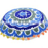 Suzani Pom Pom Lace Embroidered Floor Pillows Cotton Round Pillows Boho Shams Ethnic Cushions Throw