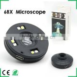 Universal Mini Mobile Phone Microscope Lens 68X Optical Glass LED Clip for iPhone Samsung Huawei HTC etc Cell Phone Microscope