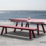 Top quality 2015 English fashion red plastic wood wpc Outdoor Garden Patio dining Leisure Furniture