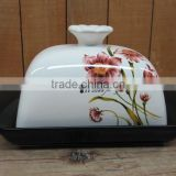 Factory Direct Wholesale Ceramic Butter Dish with Flower Decal Lid