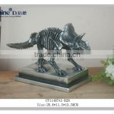 resin craft silver electro plated metal finish dinosaur skeleton model for home decor business gift