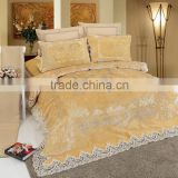 2016 Luxury High Grade Diamond and Sliver Lacy Golden Wedding 6 Pcs Bed Set