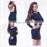 Vintage Type Beautiful Flower Pattern Beaded Lace Long Sleeve Fat Size Women Party Dress