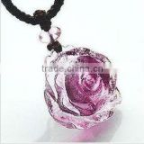 Beautiful lady love crystal glass rose necklace
