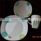 12pcs Square ceramic dinner set with mug 12oz , Square dinner set 16pcs , unique dinnerware set square shape