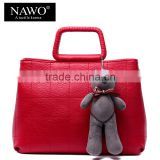 cute little girl leather hand bags tote bag with bear cartoon