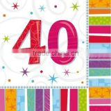 Adult Milestone Age Party Supplies /40th birthday party supplies Tableware and Decorations 40th Luncheon Napkins 33cm
