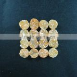 10mm rainbow yellow plated druzy quartz irregular surface round stone cabochon for DIY pendant charm supplies 4110094