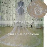 V23 Real Sample Long Beaded One Layer Lace wedding Veil 2012