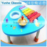 wooden musical percussion instruments blue triangle table xylophone drum symbol Noisy /educational wooden toy/