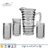 7PCS GLASS WATER SET FRUIT INFUSION PITCHER; VINTAGE GLASS BEER PITCHER