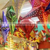 Christmas, Wedding, Halloween Event Ceiling Decorations 3D Stereo Laser Paper Stars For Shopping Mall, House, Party