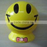 Cartoon custom coin bank, Funny smile face custom plastic coin bank,OEM plastic piggy bank with coin counter promotion