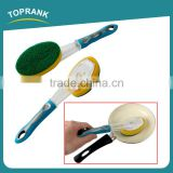 Toprank New Design Good Use Detachable Add Liquid Plastic Soap Dispensing Sponge Dish Cleaning Scouring Pad With TPR Handle