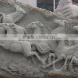 Garden decoration marble stone carving animal horse relief wall art