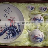 Modern design hand painted peach flowers ceramic crystal tea set bone china for hotel hospitality