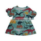 baby girls Spring summer icing short sleeve dress boutique cotton dinosaur dress