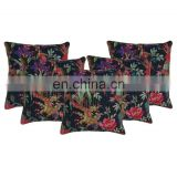 Kantha Pillow Cover Sofa Cushion Covers Floral Pillowcase Indian Home Decor Indian Bird Printed Cushion Covers