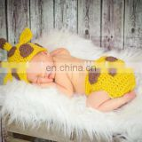 Crochet Newborn Baby Giraffe Hat and Diaper Cover Set - Crochet Giraffe - Baby Crochet Hat - Newborn Hat - Photo Prop