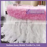 TC116A modern sweet organza decor ruffled curly willow table skirt