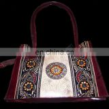 BATIK PRINT LEATHER HANDLE BAG