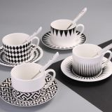 Latest modern design good sale black ceramics coffee cups with saucer set from china