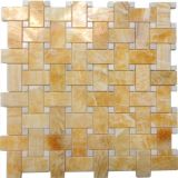 Honey onyx basketweave floor mosaic
