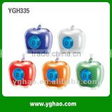 YGH335 wholesale desktop digital colorful apple talking clock with time and temperature display