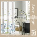 1PC VARIOUS PRINTED POLYESTER SHOWER CURTAIN WITH 12 BUTTONS W/WITHOUT HOOKS