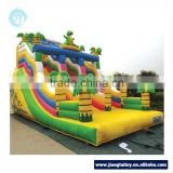 Free blower Dinosaur theme guangzhou 0.55mm PVC children inflatable bouncer jumping castle slide