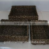 mini fryer basket,cheap bread basket,dark brown rush basket,rectangle basket