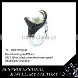 2015 Fashion pearl cz designs silver 925 wedding ring with black stone for christmas gift