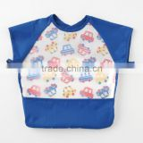 Japanese wholesale high quality new baby products useful short sleeve apron for meal with pocket waterproof EVA film