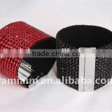 Bling Bling Crystal Rhinestones Soft Comfortable Wrap Bracelet, Adjustable Size Button Clasps Wristband