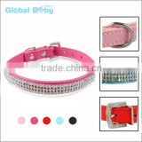 Pu Leather 3 Rows Diamond Studded Rhinestone Pet Dog Collar                                                                         Quality Choice
