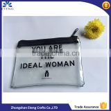 Promotion custom printed transparent stitching bag with black zipper                                                                         Quality Choice