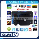 M8 Android TV BOX Full loaded KODI Amlogic S802 Quad core 2GB 8GB Set Top box with remote control