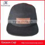 2014 print logo leather patch cap/custom 5 panel camp cap /pattern cap / snapback cap/ OEM custom front logo patch cap