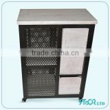 Shabby Chic Nature Wood/Metal Cabinet With Pet Room