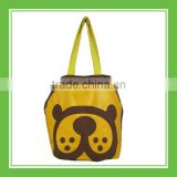New Design Products Bros Baby Lion Head Printed Brown Cotton Shoulder Tote Bag For Outdoor